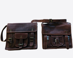Brown leather satchel with double strap and front pouch