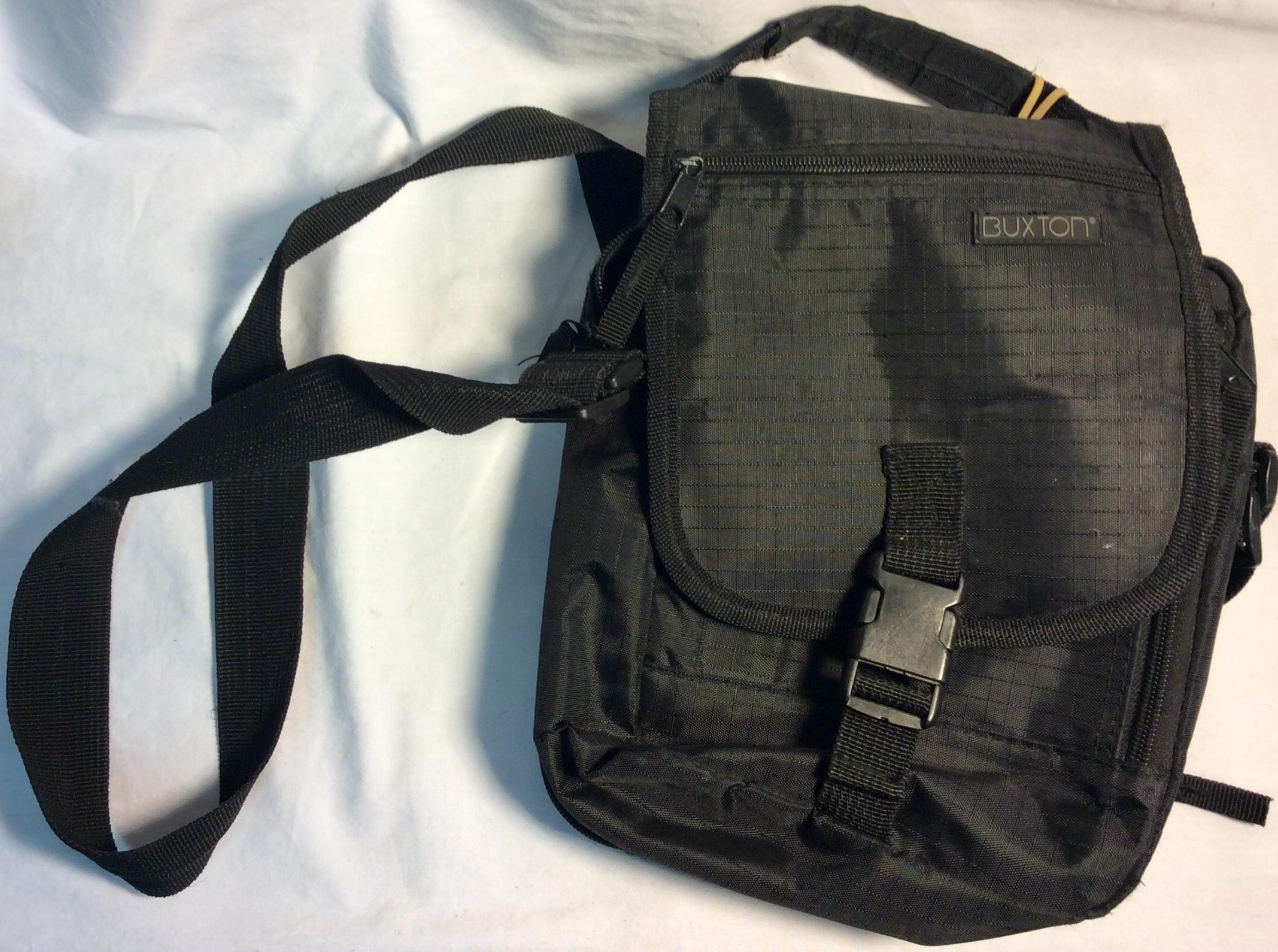 Buxton Black nylon small shoulder bag