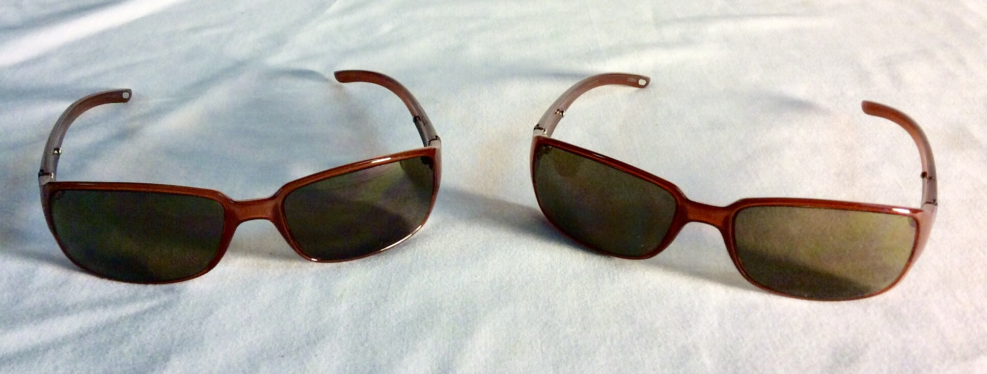 Light brown framed sunglasses