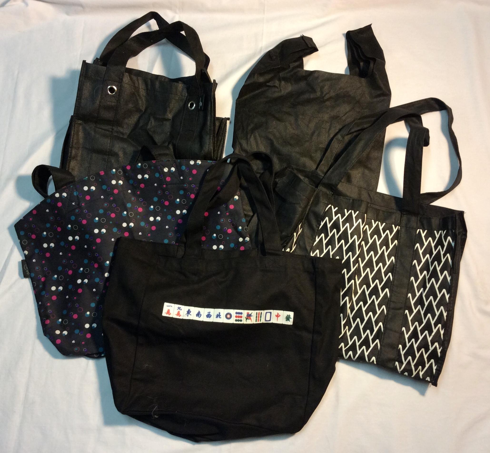 Variety of black tote bags