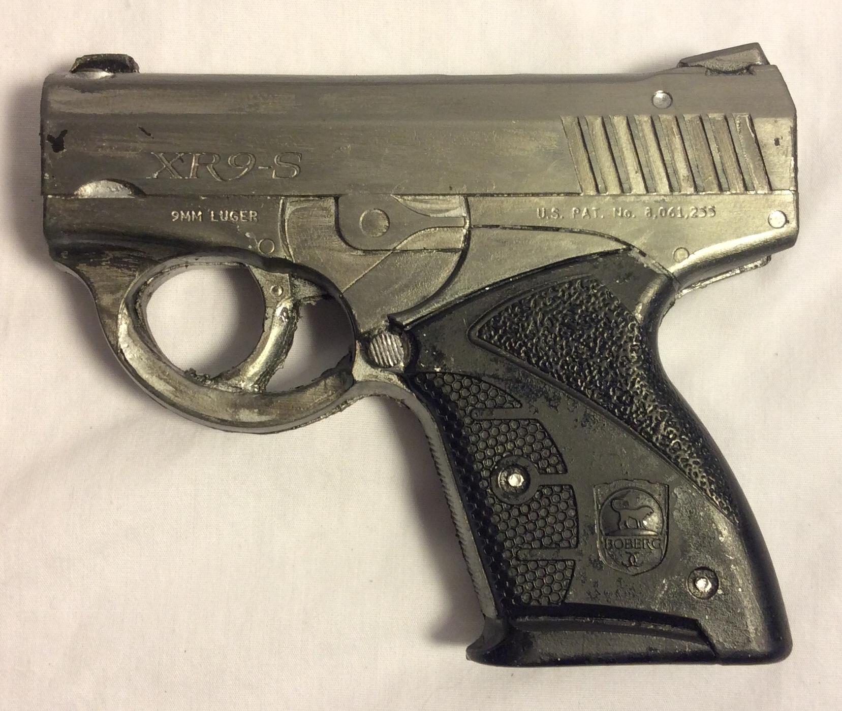 Luger XR9-S  black & silver soft rubber handguns