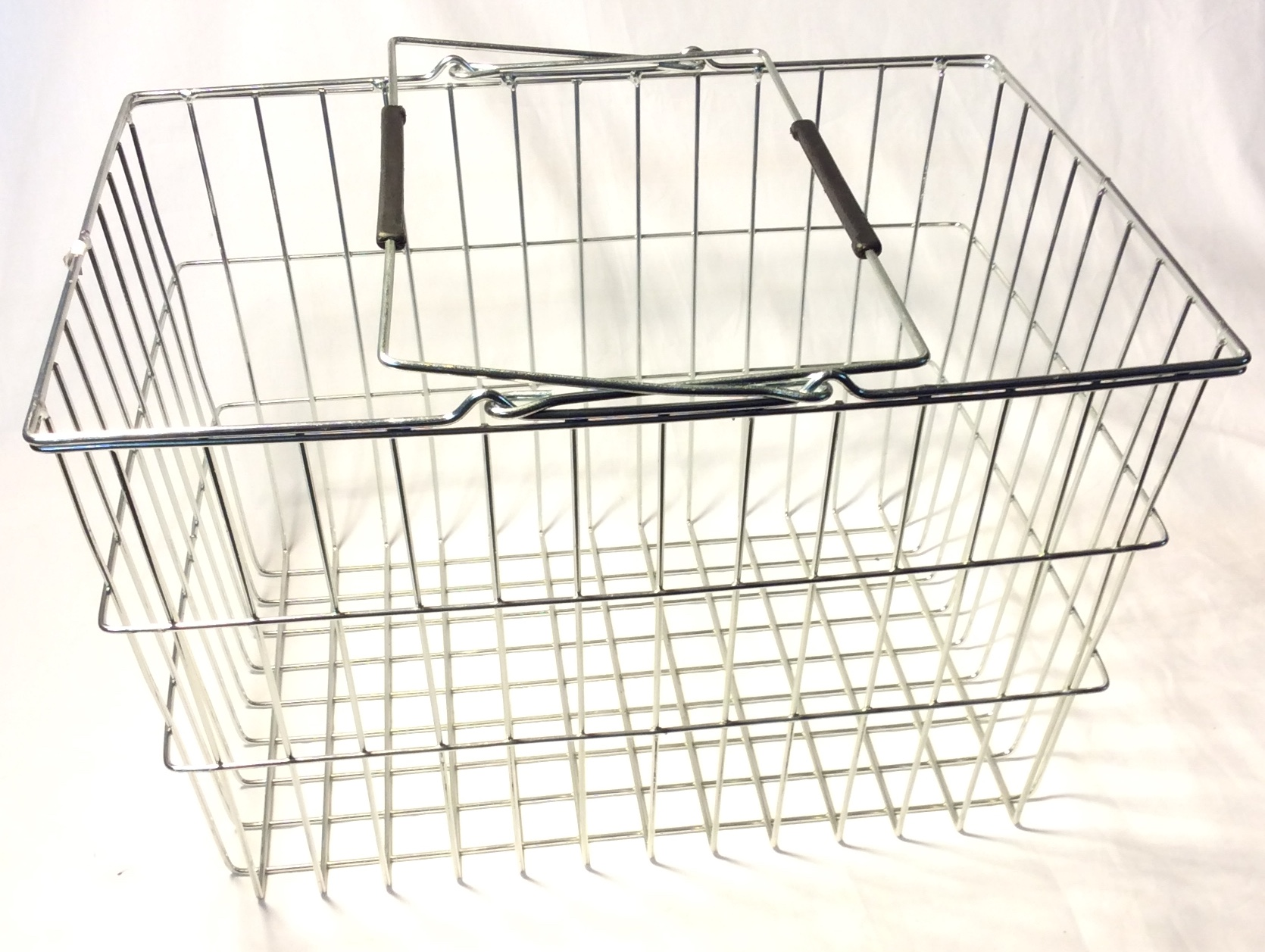 Silver metal shopping basket