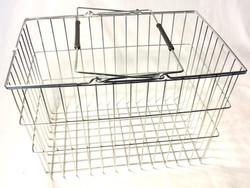 Silver metal shopping basket