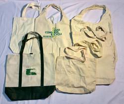 Variety of beige tote bags: plain