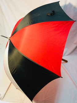 Large tricolor umbrella red, white and black with wooden handle