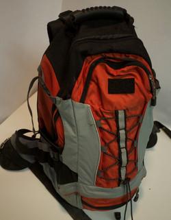 Orange grey black backpack