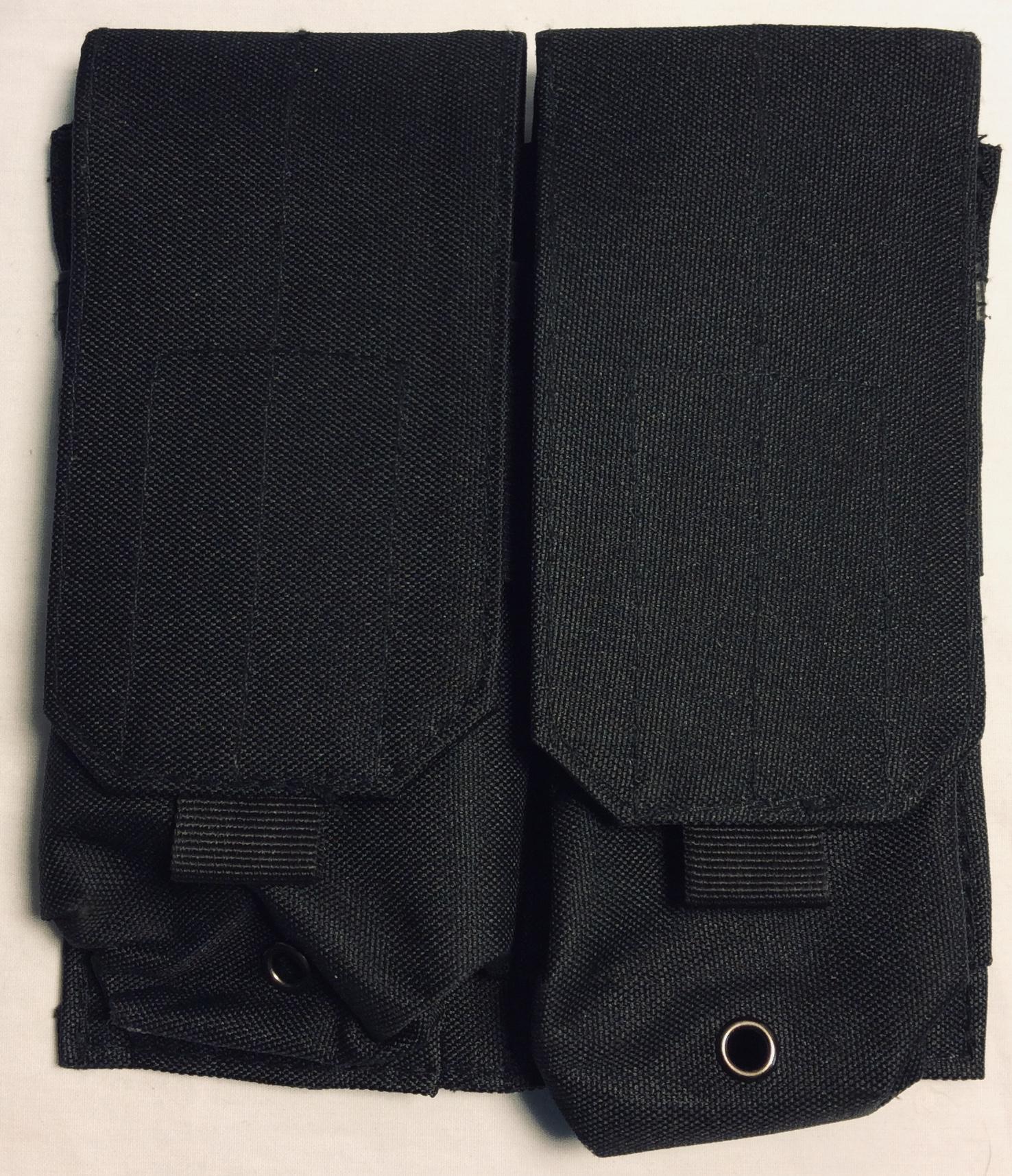 Black nylon 2 mag rifle pouches