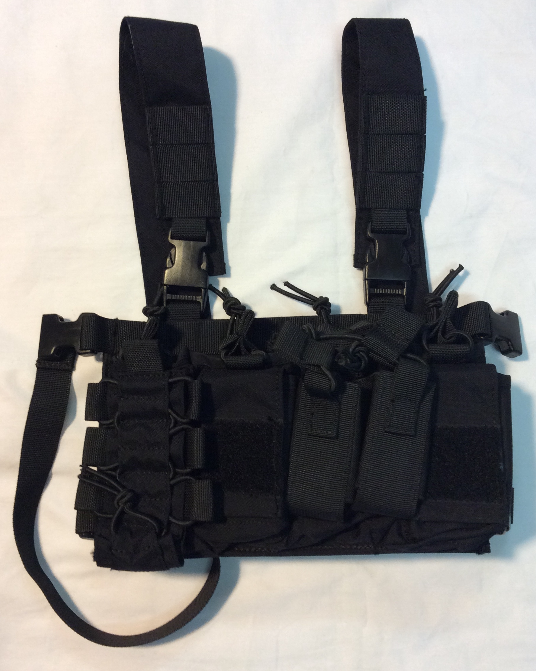Police chest pack, black fabric