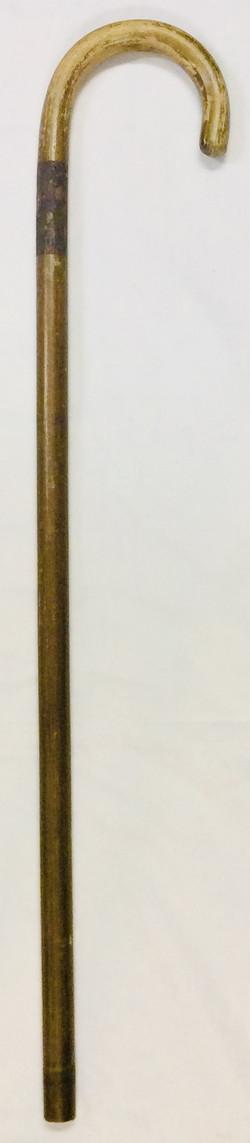 Short old wood crook walking cane