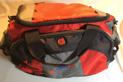 Red and Black Swiss Army Duffel Bag