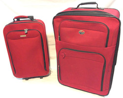 2pc rolling luggage set; Red