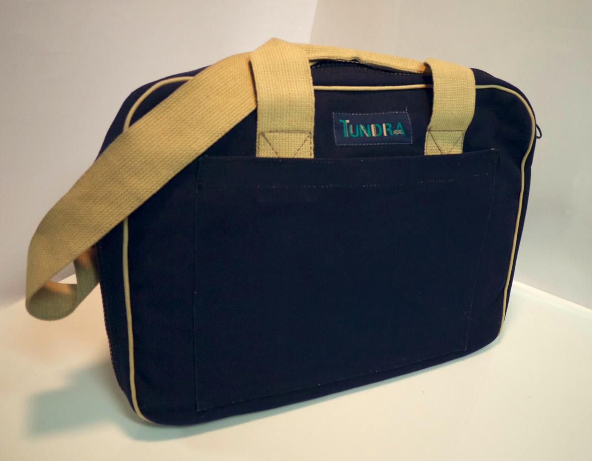 Blue/Tan cotton shoulder bag