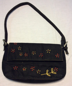 Black suede purse with red & yellow