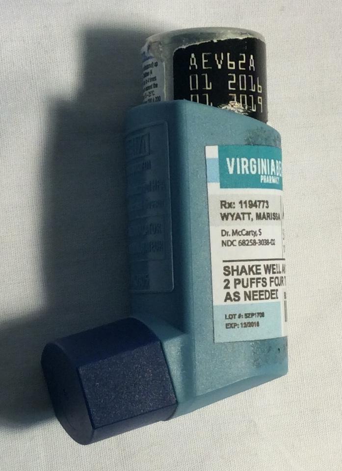 Asthma inhaler, blue plastic