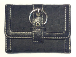 Black patterned fabric wallet