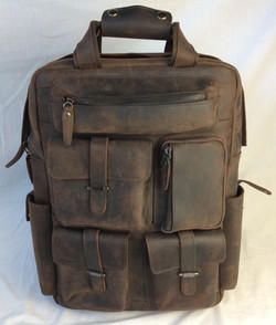 High-quality leather backpack with multiple pockets
