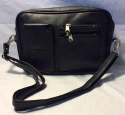 Black leather handbag with exterior