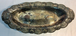 Tarnished silver tray with engraved