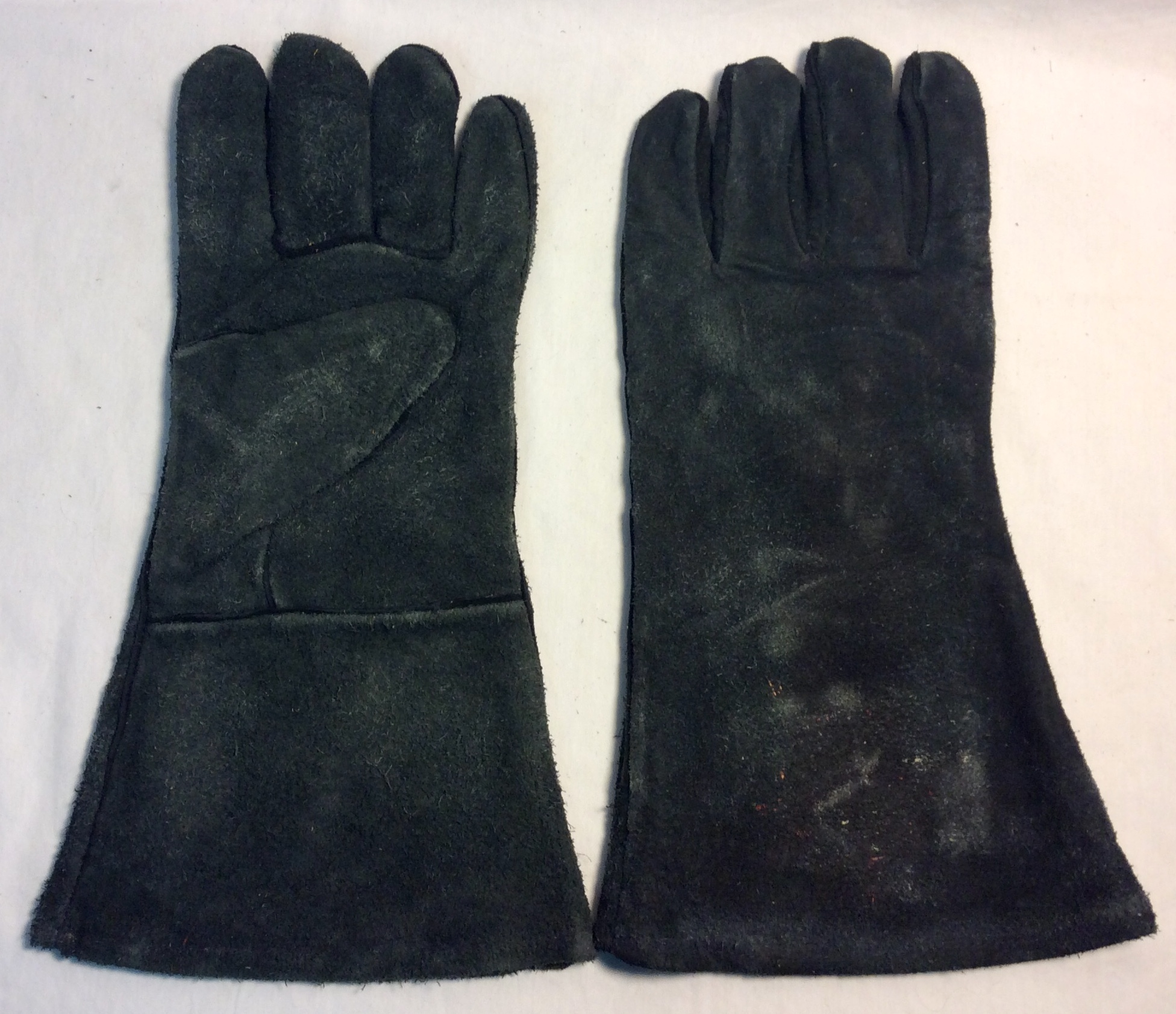 "Pair of black leather welding gloves with 4.5"" long sleeve"