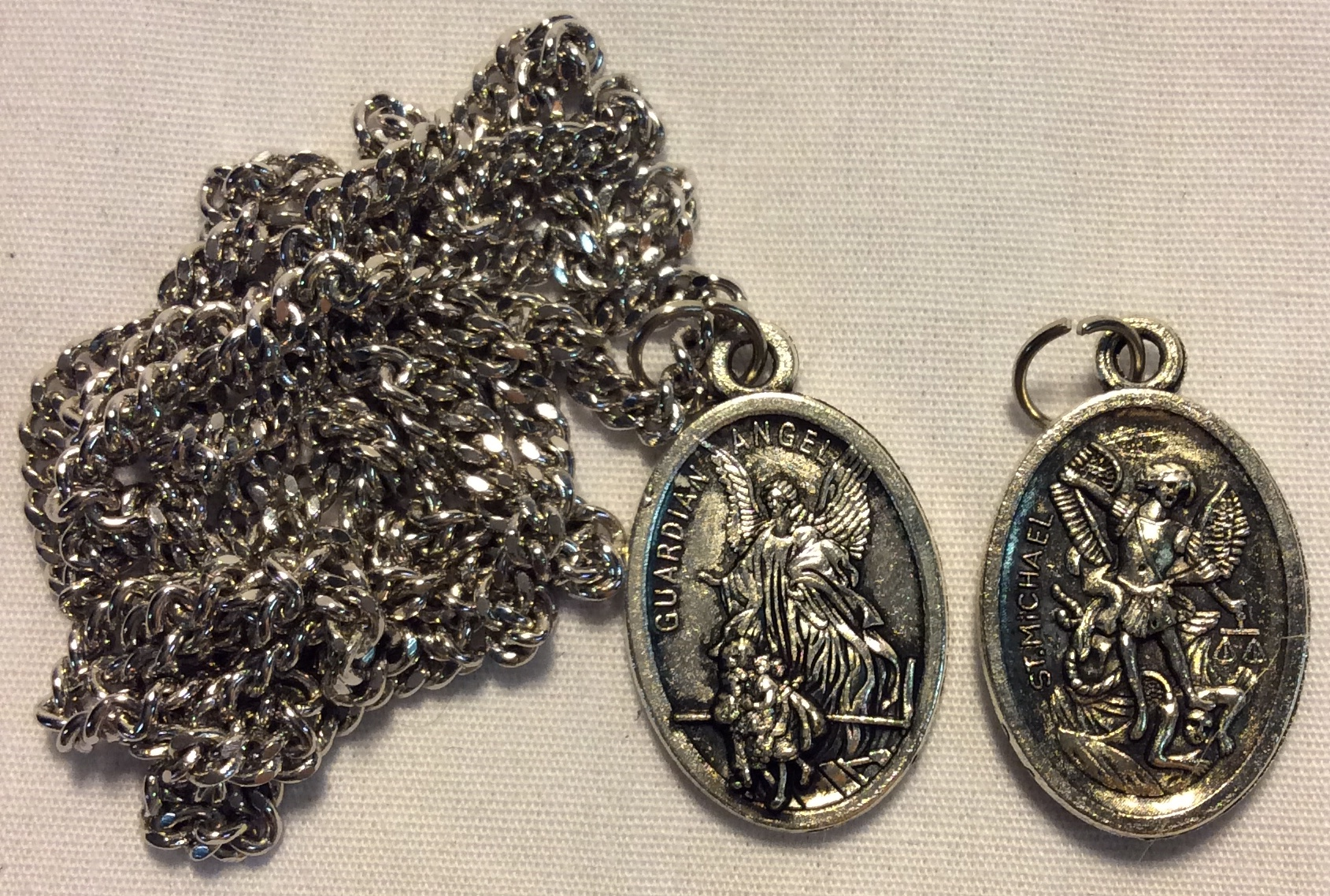 Double sided silver Guardian angel
