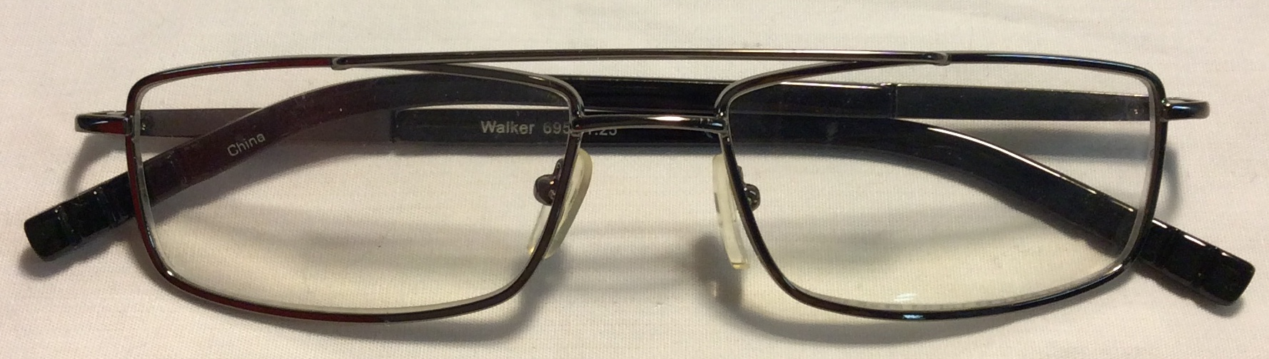 Silver metal frames, long black