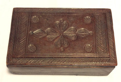 Brown leather bound jewellery box