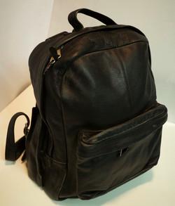 Black leather knapsack