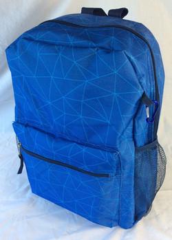Blue polygon-design school backpack