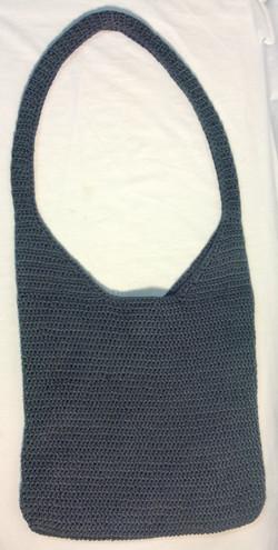 Grey-blue woven bag w/ long shoulder