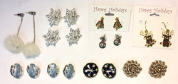 Assorted clip on & holiday earrings