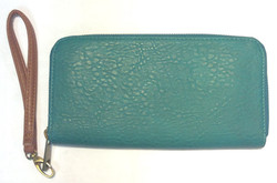 Turquoise leather wallet with brown
