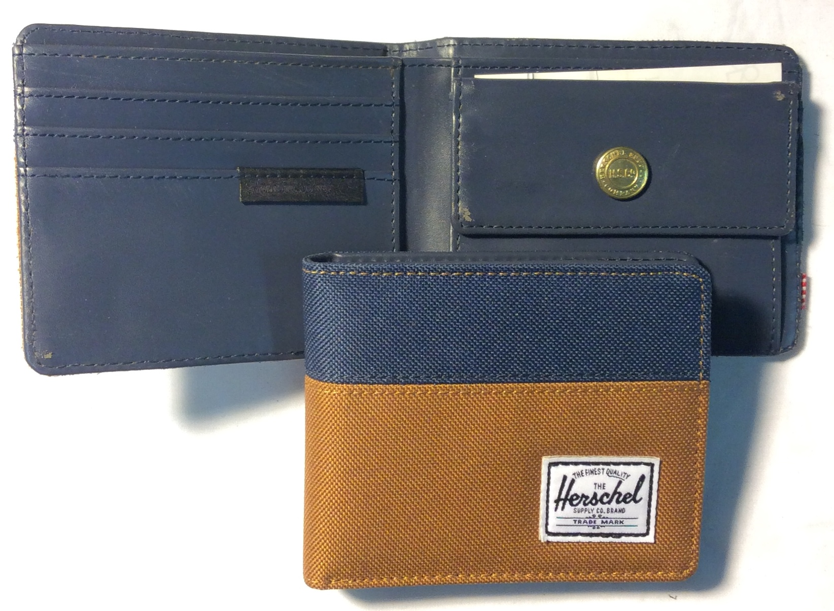Herschel Tan & navy blue/teal woven