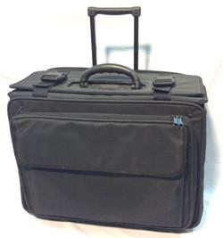 Black canvas large rolling briefcase