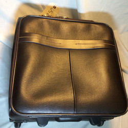 Small Wheeled Leather Suitcase