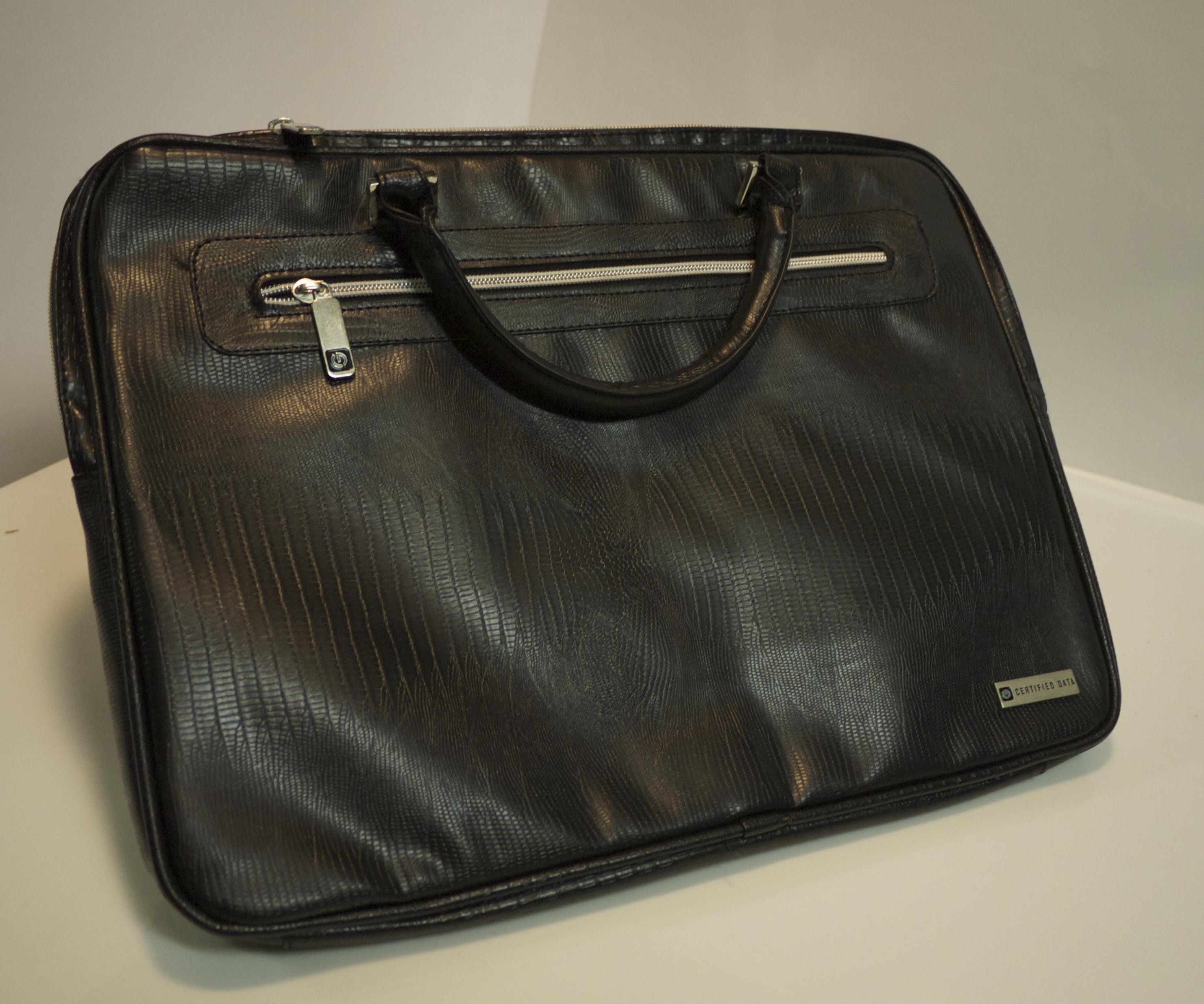 Black faux leather laptop bag