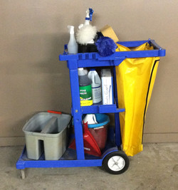 Blue Plastic Janitorial cart