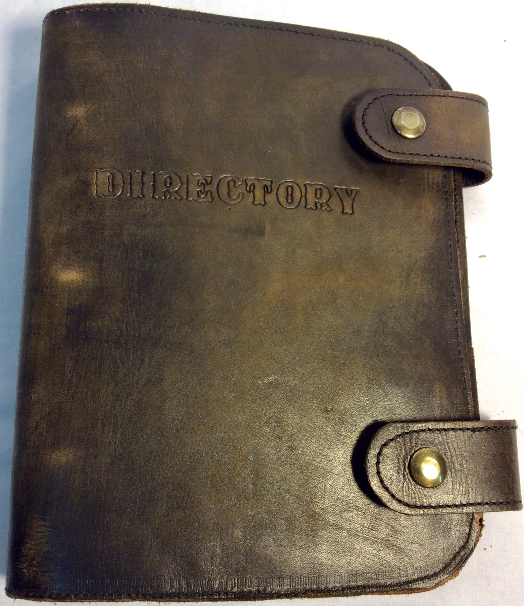 Directory binder with aged brown leather