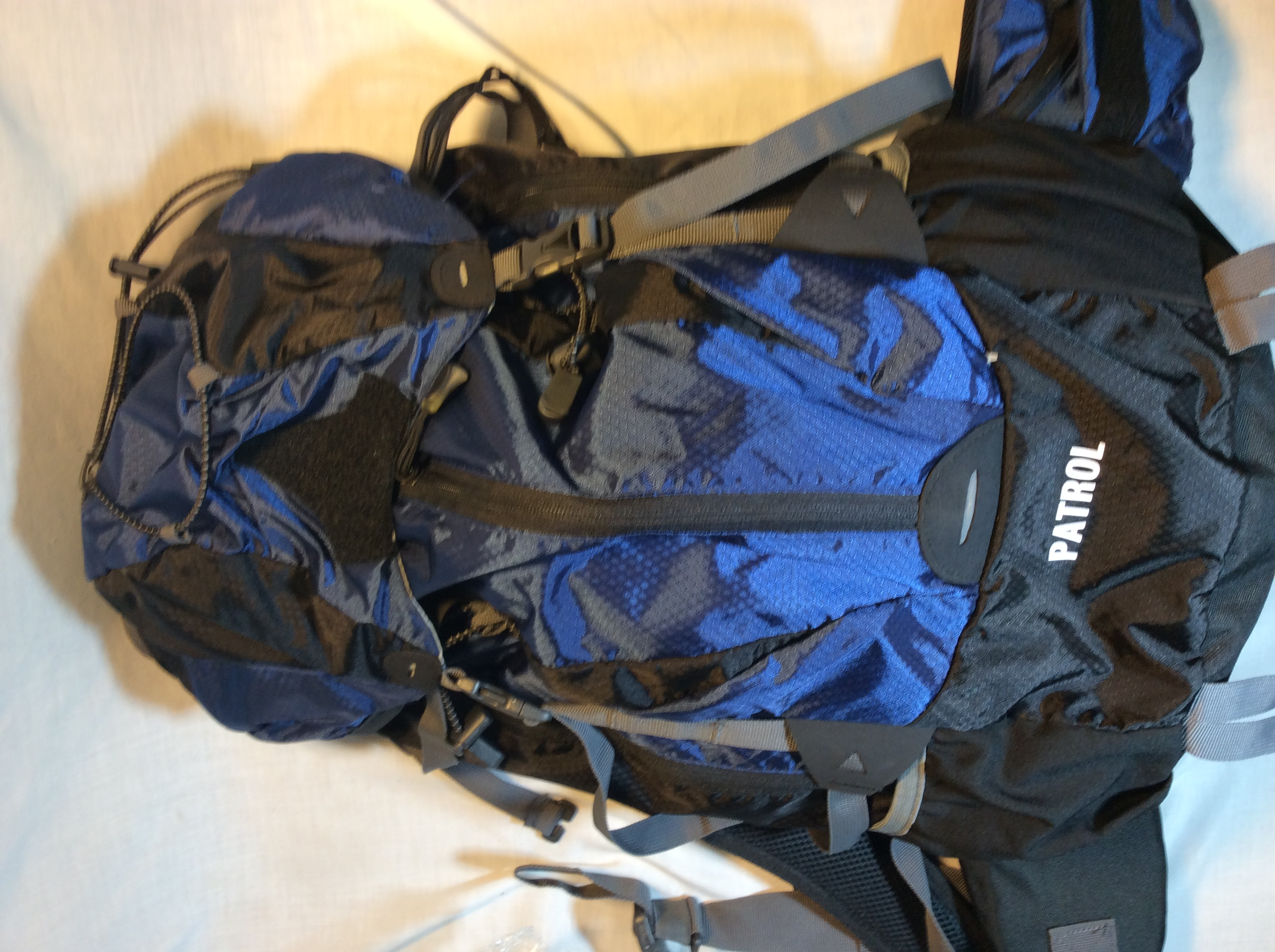 Blue backpack with Patrol markings