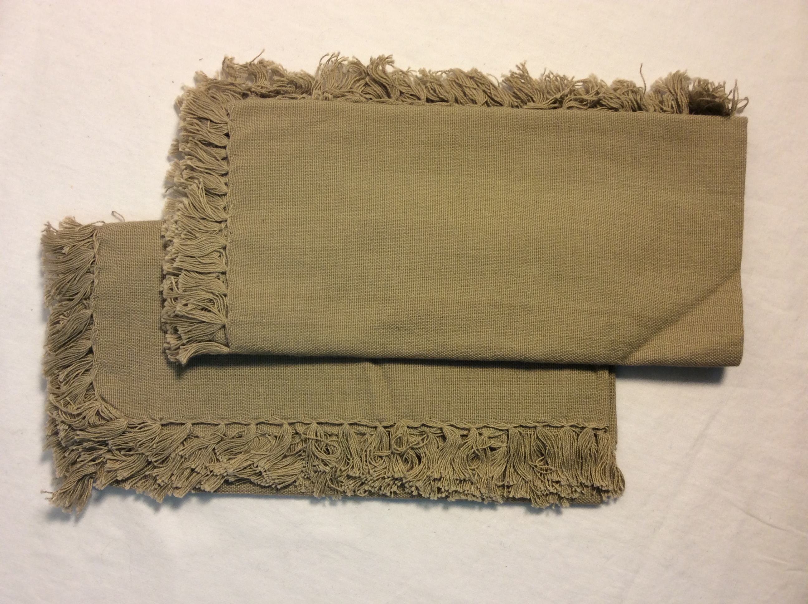 "Light brown cloth napkins with tassles 16""x16"" - x4"