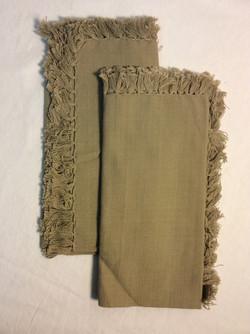 "Light brown cloth napkins with tassles 16""x16"" - x4"