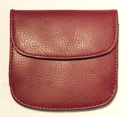 Small round red leather coin purse