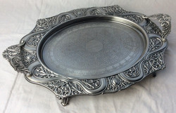 Vintage silver serving tray with legs