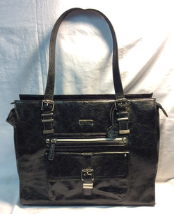 Black leather laptop bag with silver