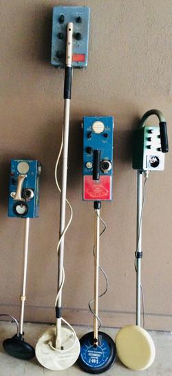 Assorted vintage portable metal detectors