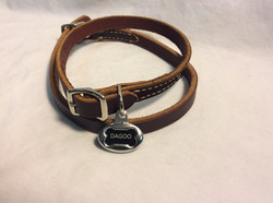 Dog collar dark brown leather basic