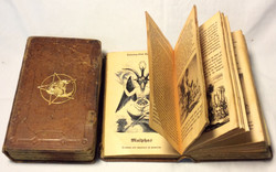 Old leather ritual book with skull