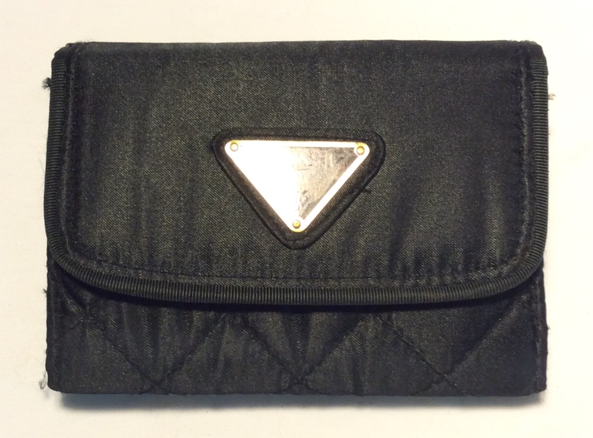 Black fabric wallet with triangular
