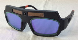 Technology advanced glasses with purple lenses.