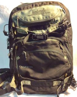 Bakoda Black with olive green details hicking backpack