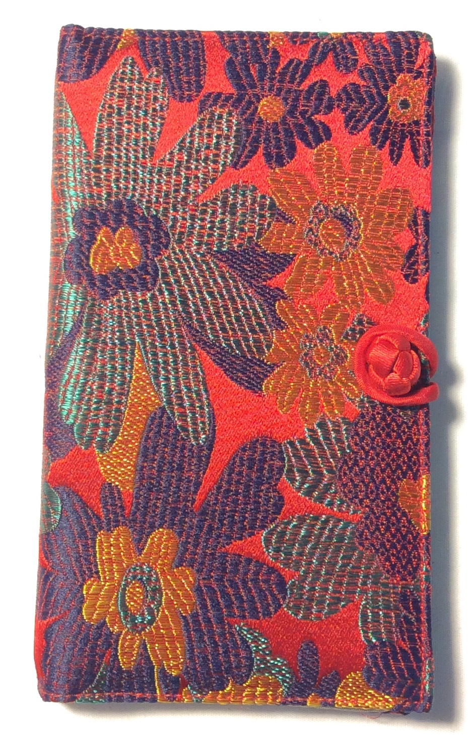 Red satin long wallet with blue